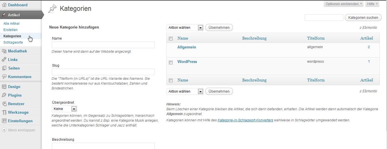 Die Seite für die Kategorien