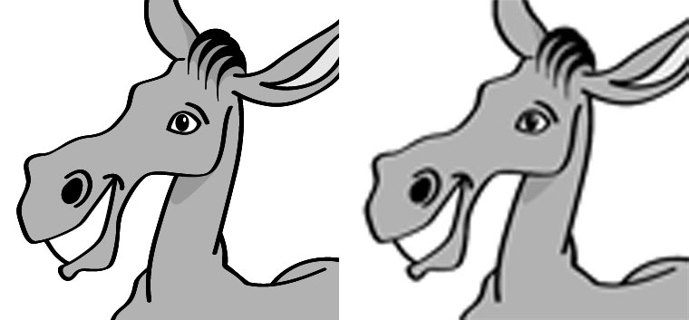 Vergleich zwischen Vektorgrafik und stark vergrößertem Pixelbild