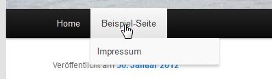 Die Linkleiste mit untergeordneter Impressums-Seite