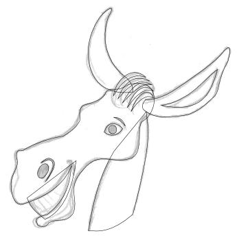 Die Umrisse des Esels als Pfade