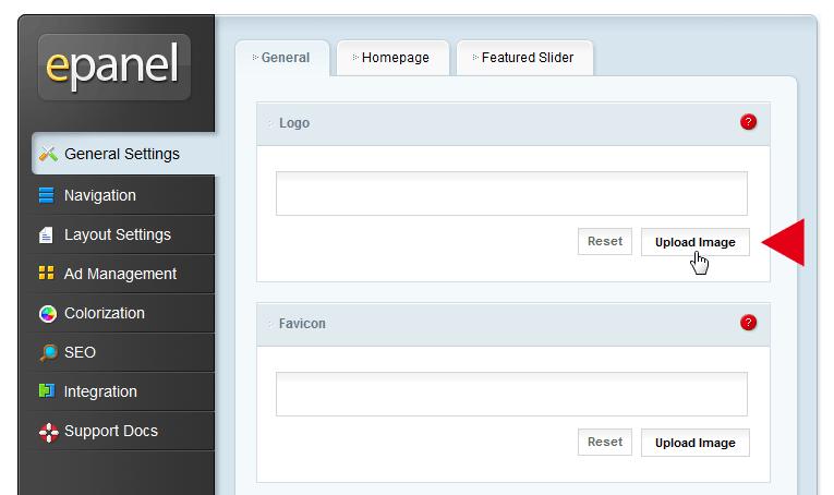 Der Button Upload Image im epanel