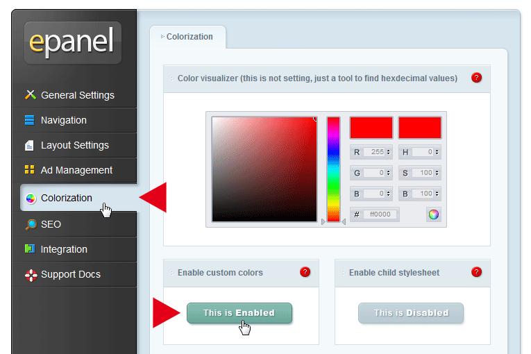 Individuelle Farben aktivieren