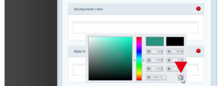 Die Farbe bestätigen