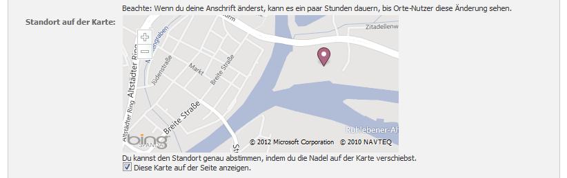 Die Karte mit dem Standort erscheint nach einer Weile im Dashboard