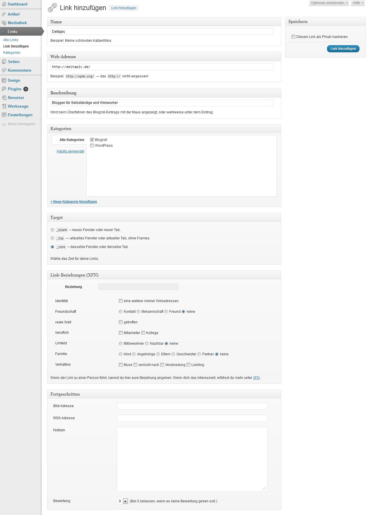Die Eingaben für den Beispiel-Link