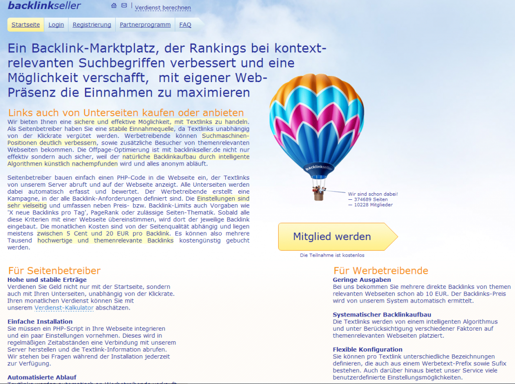 Die Startseite vom Marktplatz Backlinkseller.de