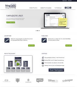 Die Startseite von BlogAds.de