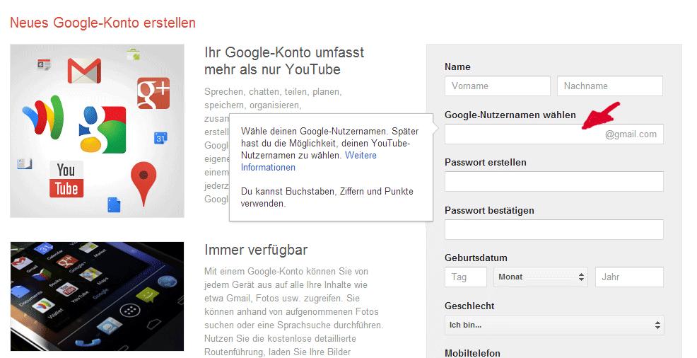 neues Google-Konto erstellen