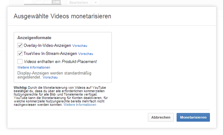 YouTube Videos monetarisieren Schritt 7
