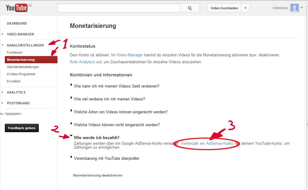 YouTube Channel mit Adsense verknüpfen Schritt 1