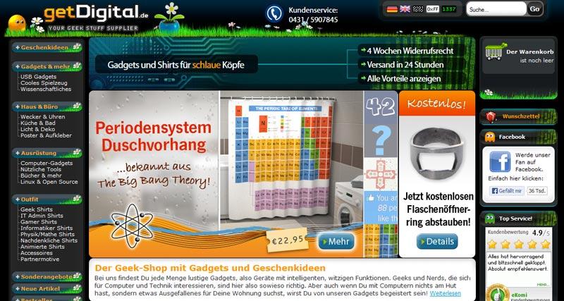 Ein Screenshot der getDigital.de Startseite
