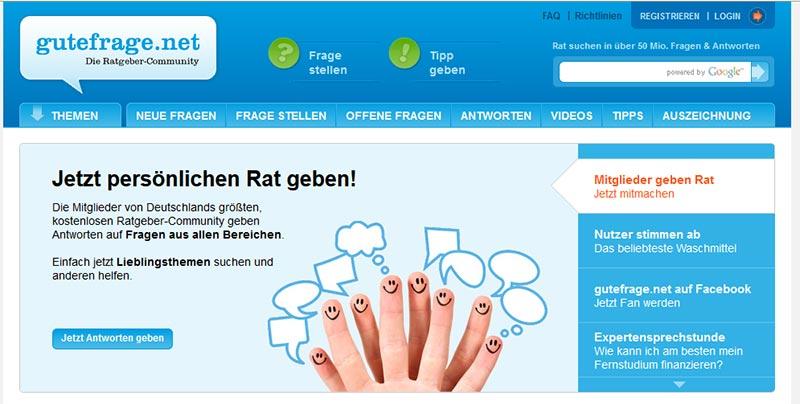 Screenshot von gutefrage.net