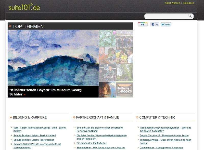 Screenshot der Suite 101 Website