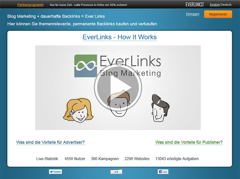 Screenshot der EverLinks Startseite