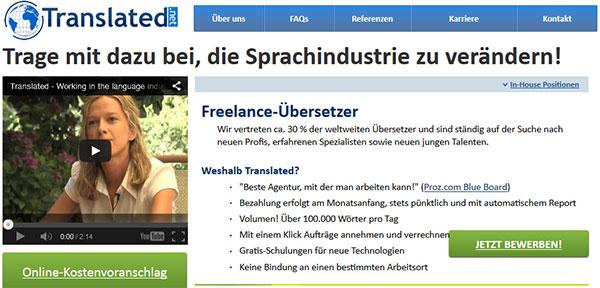 Anmelden als Freelance-Übersetzer bei Translated.net