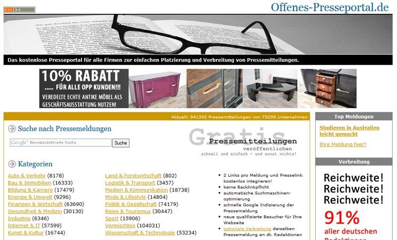 Screenshot der Kategorien eines kostenlosen Presseportals
