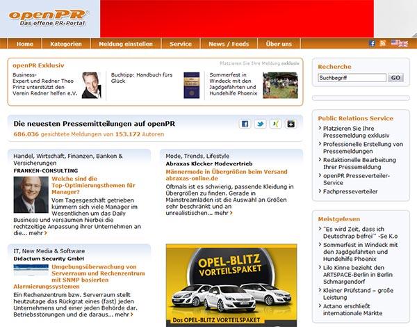 Screenshot des kostenlosen Presseportals openPR