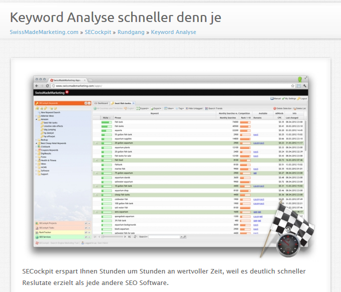 Ein Screenshot aus der SECockpit-Website