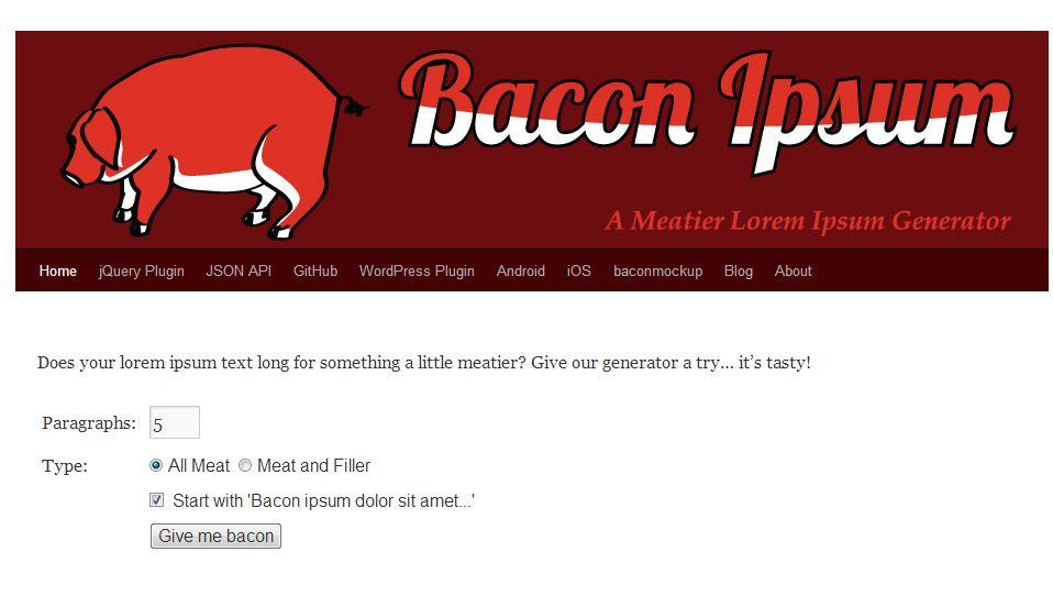 Bacon Ipsum anstatt Lorem Ipsum
