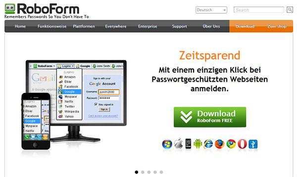 Screenshot der RoboForm Webseite