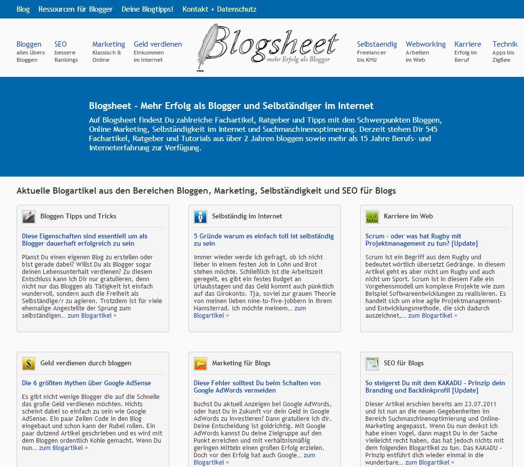 Die Startseite (Homepage) von Blogsheet