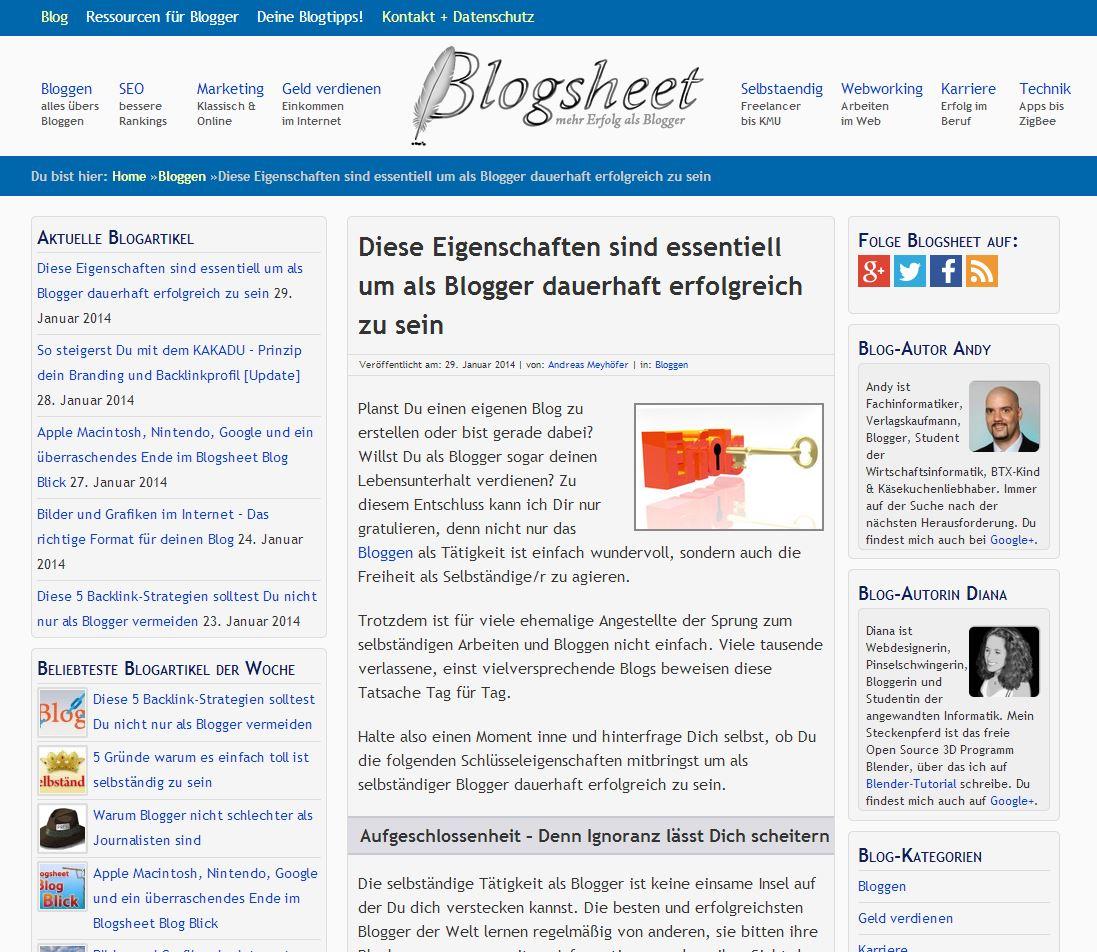 Eine Blogsheet Webseite. Beispiel: Blogartikel