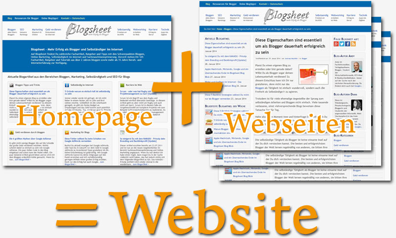 Homepage + Webseiten = Website