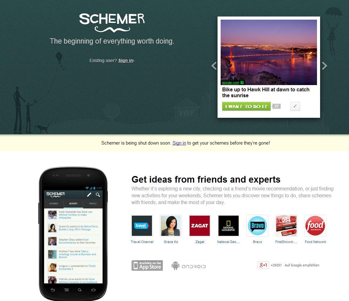 Google stellt schemer.com ein