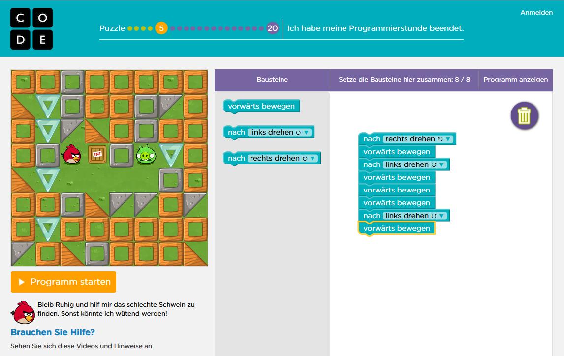 Screenshot Programmieren lernen auf code.org