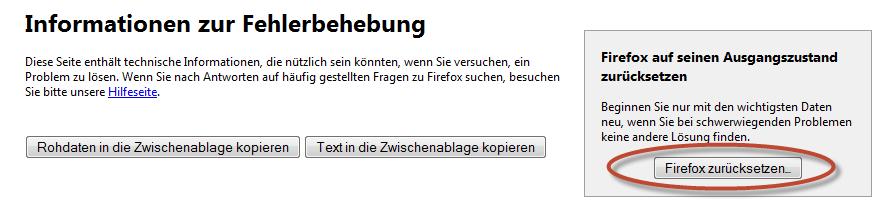 """Schritt 2 - Button """"Firefox zurücksetzen"""" anklicken"""