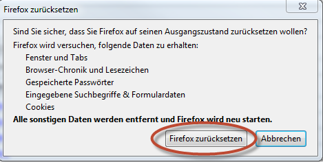 "Schritt 3 - ""Firefox zurücksetzen"" bestätigen"