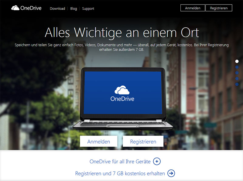 Screenshot der OneDrive Website