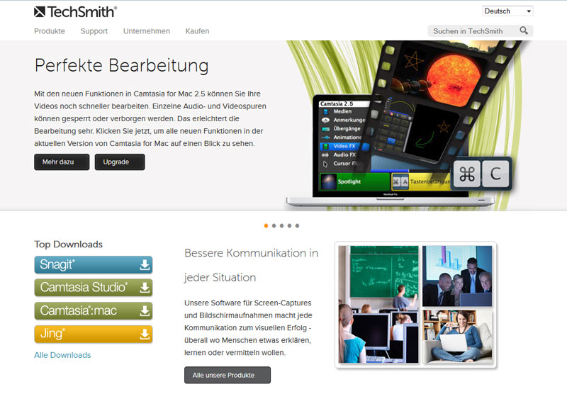 Screenshot der TechSmith Website