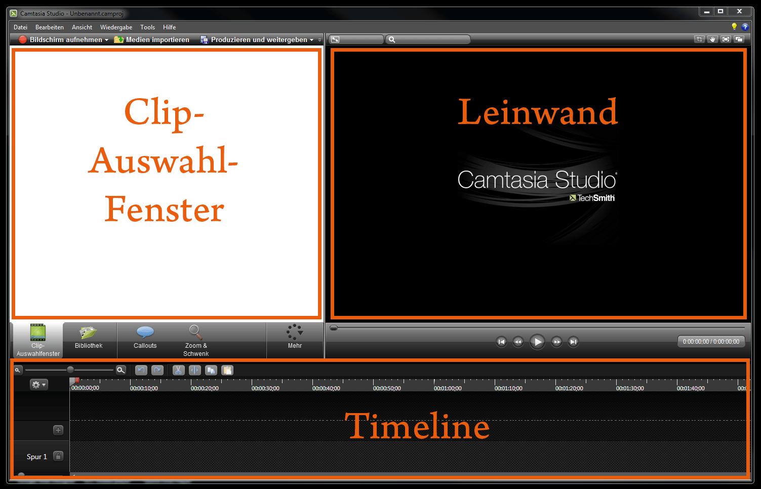 Die Camtasia Arbeitsoberfläche mit den drei wesentlichen Bereichen Clip-Auswahl-Fenster, Leinwand und Timeline