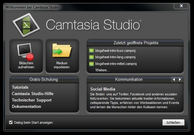 Das Begrüßungsfenster nach dem Start von Camtasia Studio 8