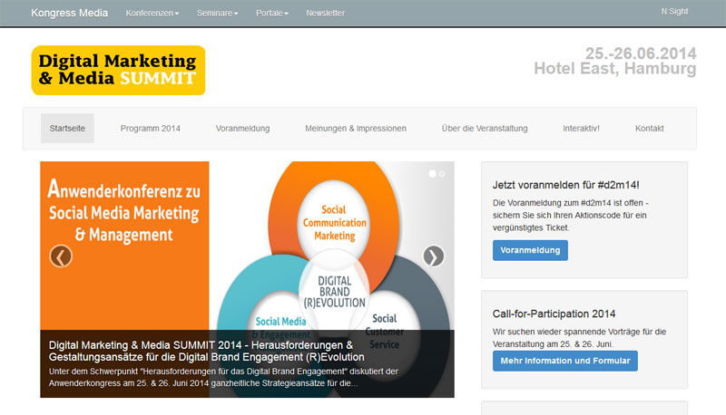 Screenshot der Wewsite Digital Marketing & Media Summit