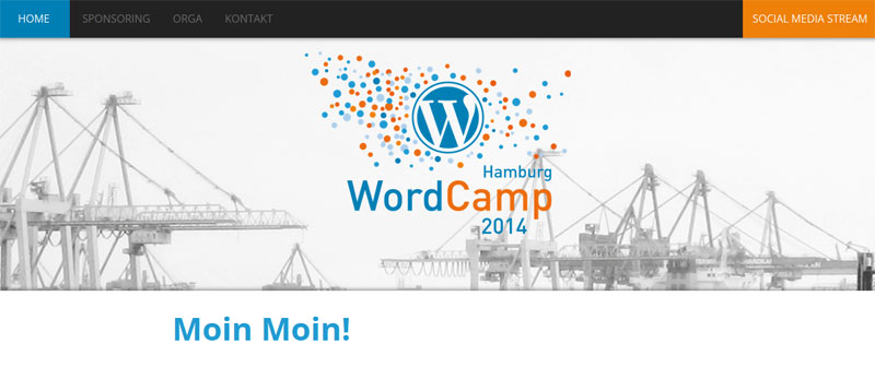 Screenshot der Website des WordCamps Hamburg