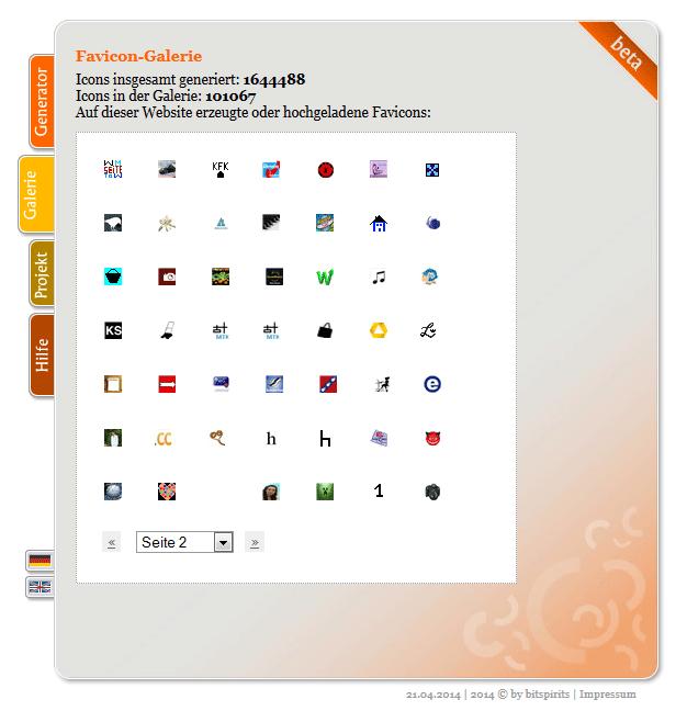 Screenshot der Favicon-Galerie auf favicon-generator.de
