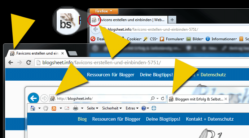 Im Screenshot siehst Du das Blogsheet-Favicon in verschiedenen Browsern.