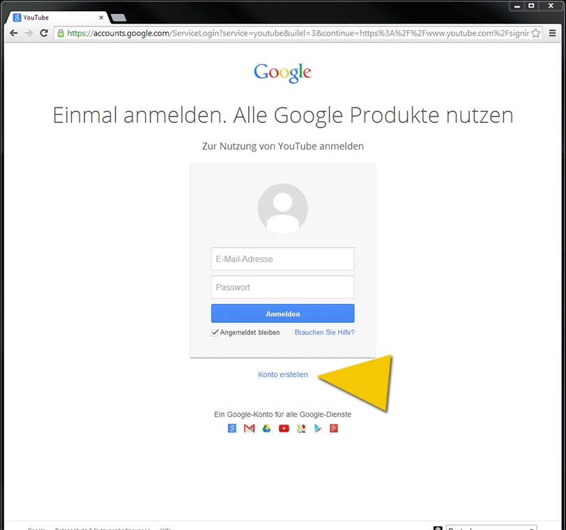 Anmeldefenster zum Google-Konto