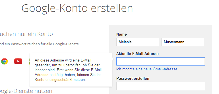 neuen mail account anlegen