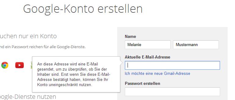 Google-Konto erstellen - Name und Email-Adesse