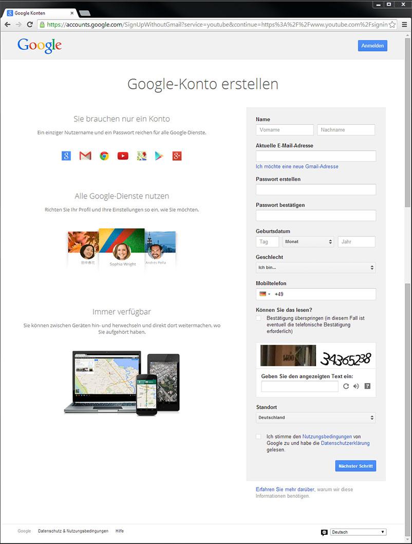 Eingaben für dein neues Google-Konto
