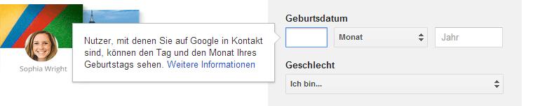 Google-Konto erstellen - Geburtsdatum angeben