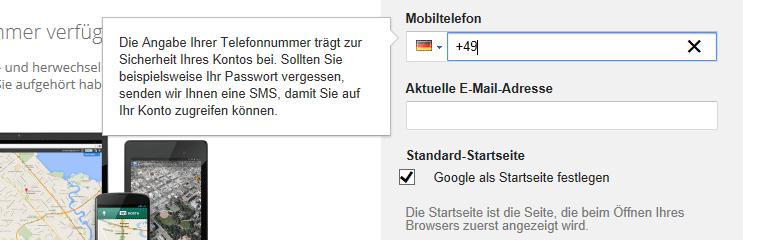 Google-Konto erstellen - Nummer Mobiltelefon eintragen