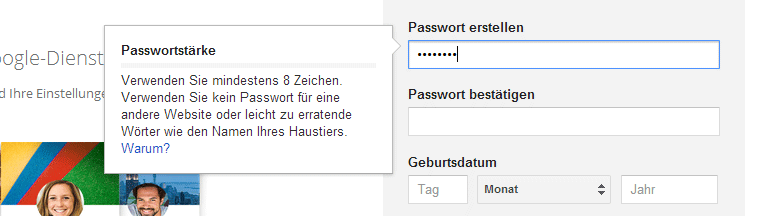 Google-Konto erstellen - Passwort festlegen