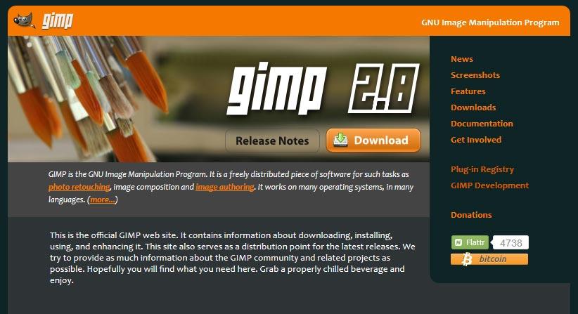 Screenshot der Startseite von gimp
