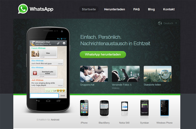 Screenshot der WhatsApp-Website
