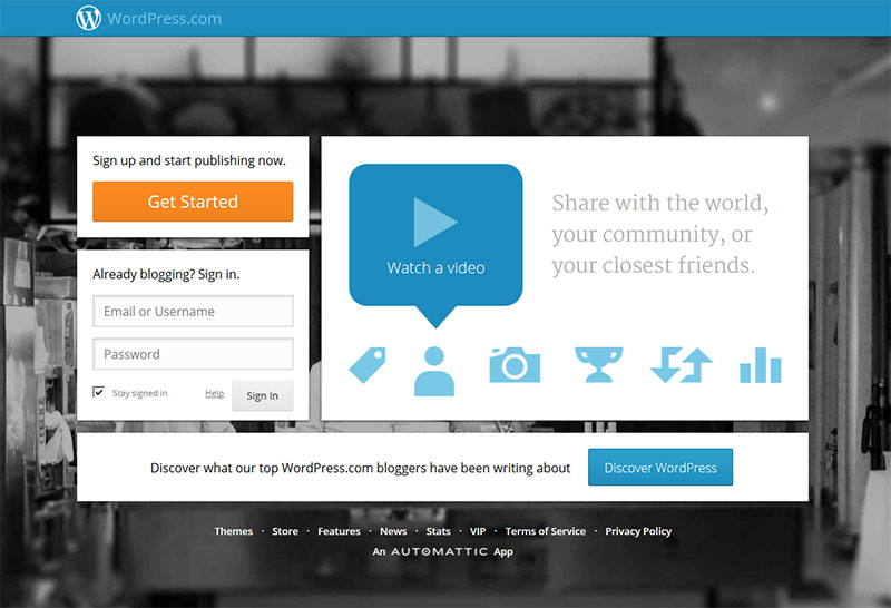 Screenshot der WordPress.com Homepage