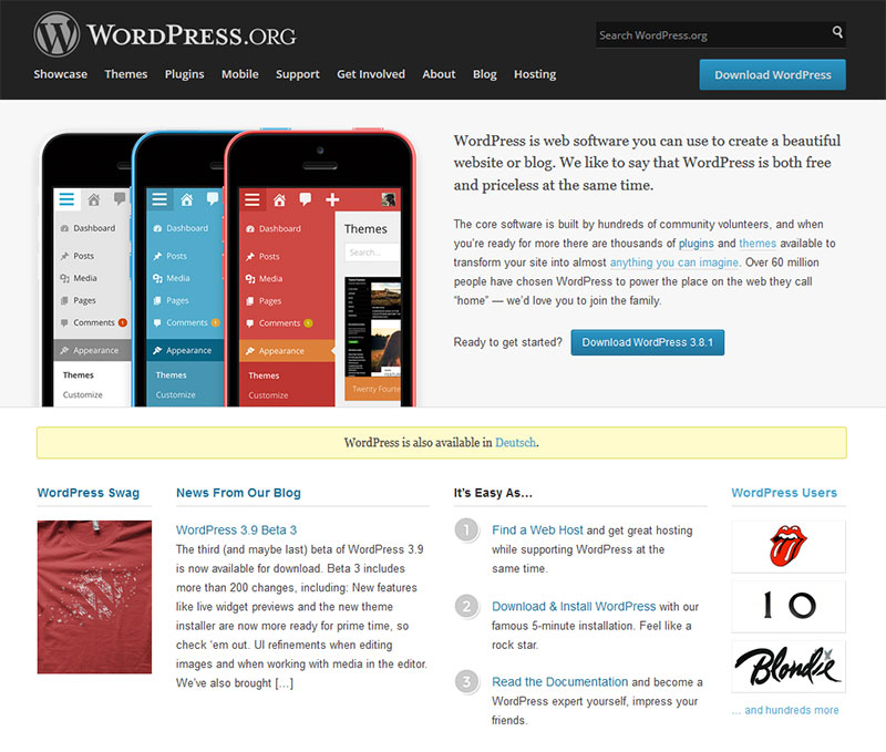 Screenshot der WordPress.org Homepage